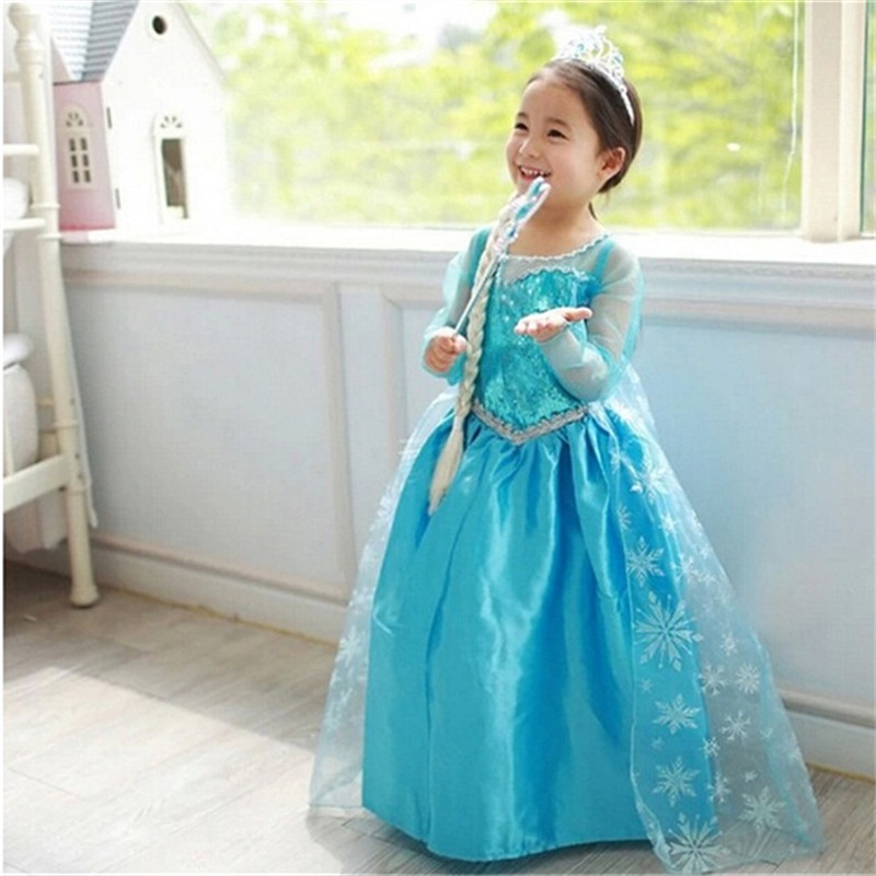 Baby Girls Carnival Christmas Halloween Anna Elsa Cosplay Costume Party Lace Sleeve Dress Princess Clothes For Kids Girl Costume high quality girl dresses 2017 princess party dress kids anna elsa cosplay costume the snow queen christmas baby girl clothes