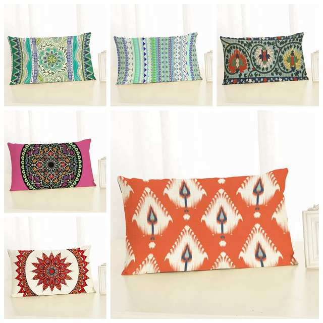 Scandinavian Cushion Cover Decorative Rectangle Shape Ethnic Almofada Boho Throw Pillow Case Backrest Ikat Mandala Cojines