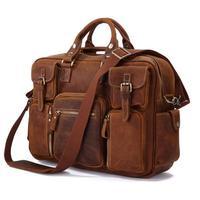 Nesitu High Quality Big Vintage Real Genuine Leather Crazy Horse Leather Men's Travel Bags Briefcase Men Messenger Bags #M7028