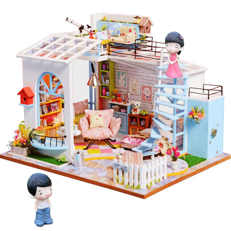 Cutebee Doll House Furniture Miniature Dollhouse DIY Miniature House Room Box Theatre Toys for Children stickers