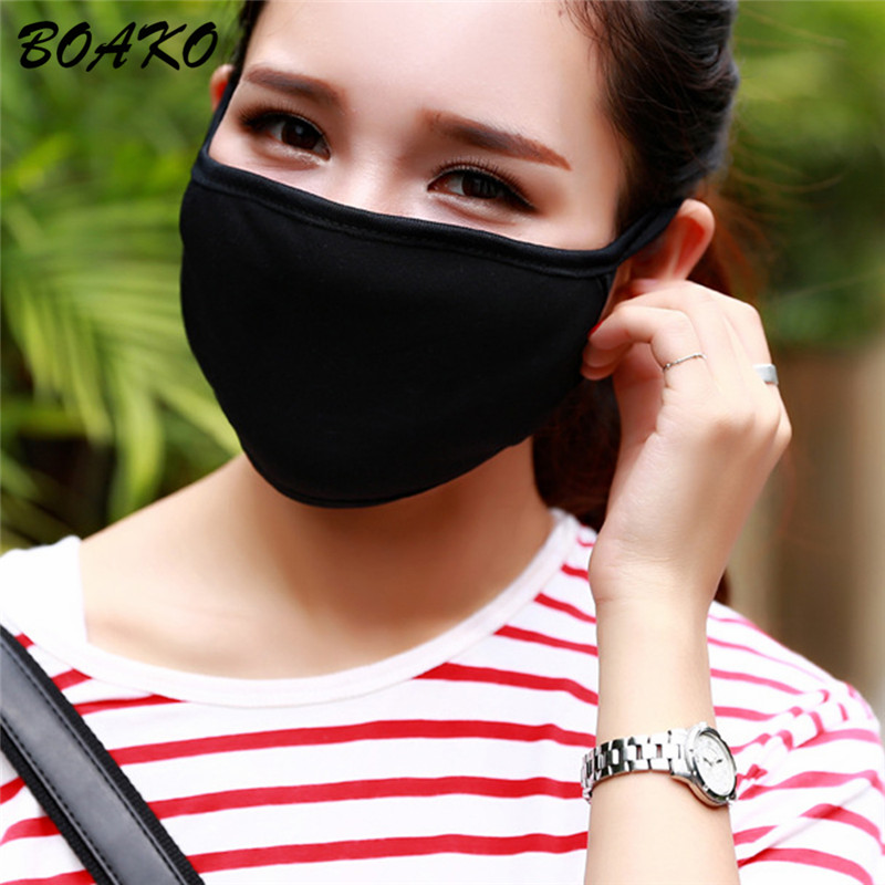 BOAKO Anti-dust Cotton Mouth Face Mask Fashion Black Face Masks Kpop Lucky Women Men Muffle Warm Mouth Cover Mask Health Care