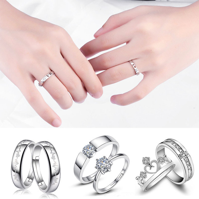 Fashion 2Pcs/set Simple Opening Ring Couple Ring Zircon Six Claw Crown Wedding L