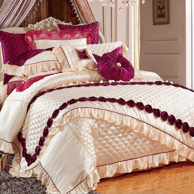 couvre lit ensemble Svetanya de luxe de mariage brodé glissante 11 pcs ensemble de  couvre lit ensemble