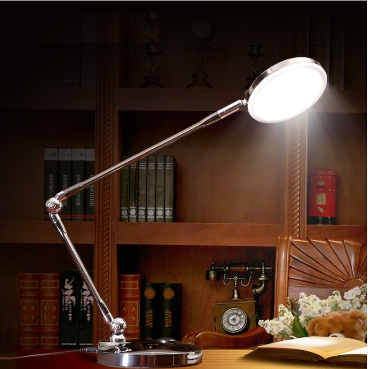 Dimmable LED Study Lights, Adjustable Arm in Metal Body with Satin Chrome Surface ...