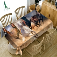 Customizable 3D Round Tablecloth Prairie African Horse Pattern Washable Thicken Cotton Rectangular Table Cloth Home Decoration