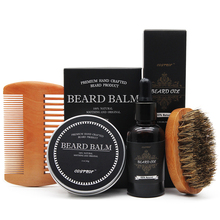 Cosprof Beard Balm Moustache Cream Oil Set Conditioner Healthy Moisturizing Wax Brush Comb Natural