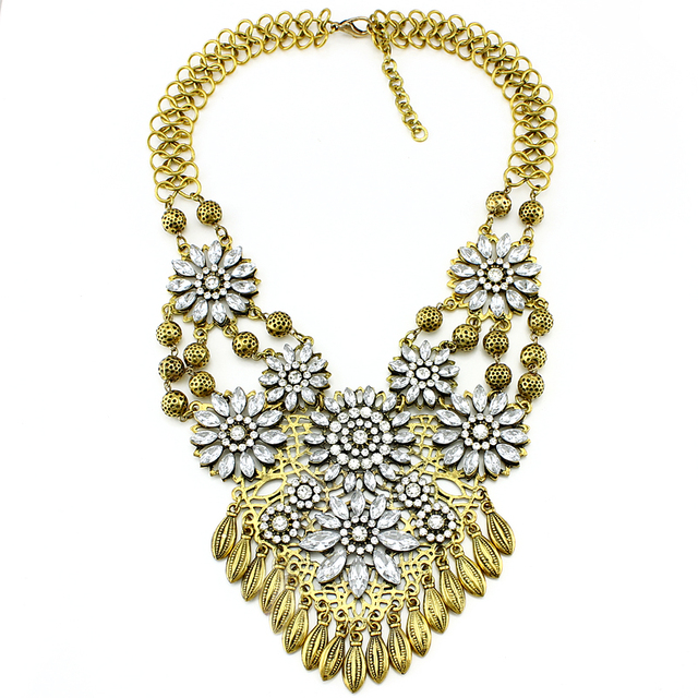 Vintage Metal crystal flower Charms Statement Necklace