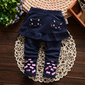 2016 autumn/fall cuet cat infant girls pants newness gray pink baby girls leggings Flounced fake 2pcs kids pants casual costume