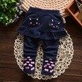 2016 otoño/fall cuet gato niñas infantiles pantalones novedad gris rosa bebé polainas de las muchachas Con Volantes falsos 2 unids niños pantalones de traje informal