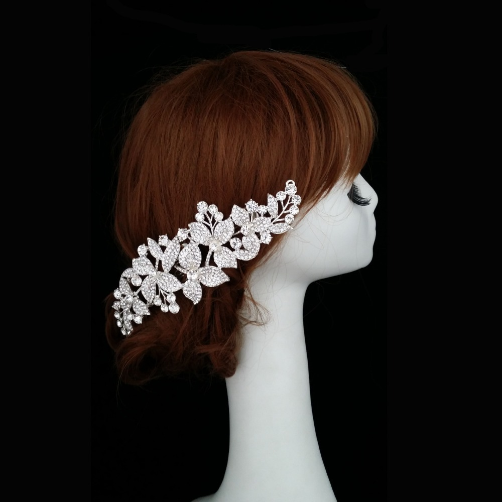 New Arrival Hair Jewelry Bride hairband Flowers Hair Combs Fashion Silver Plated Full Rhinestone Weedding Accessories