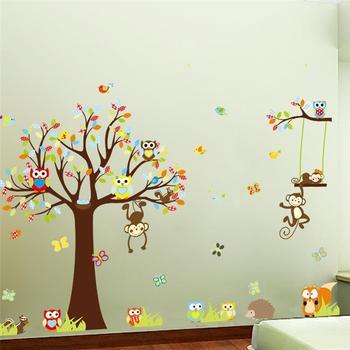 Прекрасный обезьяны дерево стены стикеры для детская комната украшения дома животные adesivo де parede 1212. мультфильм пвх наклейки фрески искусства 3.0
