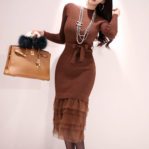 Bodycon Ruffles Long Quality High Sleeve Party brown Jersey Black Mesh Knited Work length Turtleneck Dress Knee Sweater Dresses Business XwxCz