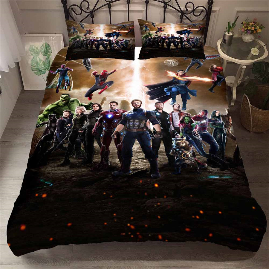 HELENGILI 3D Bedding Set The Avengers Print Duvet Cover Set Bedcloth With Pillowcase Bed Set Home Textiles #FILM-04