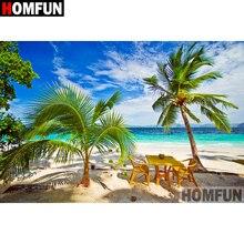 HOMFUN Art 5D Diy Diamond Painting Seaside scenery Pictures Cross Stitch 3D Rhinestone Embroidery Decor A07979