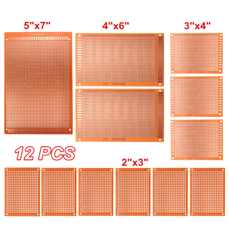 12pcs-set DIY Prototyping Board PCB Printed Circuit Prototype Breadboard Stripboard 4 Sizes