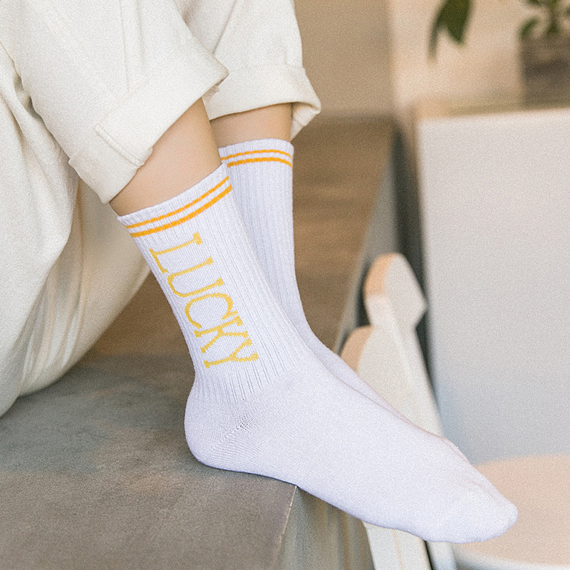 Girls Women Korean Japanese StreetWear Cotton Causal Letter Print White   Socks   Hight Quality Women Fashion 2019   Socks