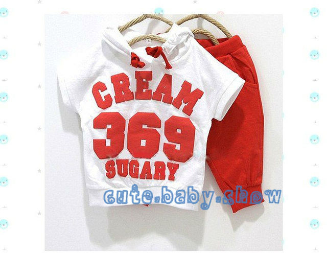 Hot sale! Baby girls boys 369 Short sleeve Hoodies Pants Sport suits baby clothing 2 colors to choose.