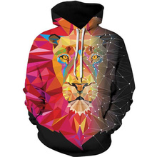 2019 Unisex Women Men Galaxy Animal 3D Digital Print Pullover Hoodie Hooded Fleece Sweatshirt LYM016-028