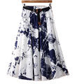 Vintage Ink printing women summer skirt high quality plus size high waist cotton Linen skirt with belt for female PW1034