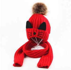 Scarf-Set Pompom-Cap Cat-Design Winter Kids Children Knitted-Fur And Girls for Boys Ribbed