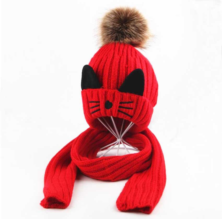 Winter Hat And Scarf Set For Children Girls Kids Cap Scarves Boys Ribbed Knitted Fur Pompom Cap Warm 2 Pcs Suit Cat Design M5300