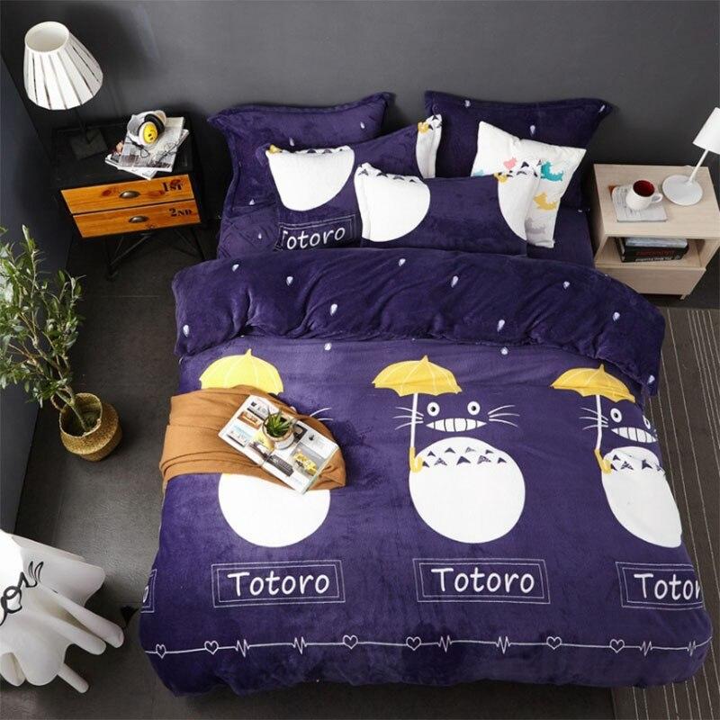 1 pièces Totoro cartoon housse de couette élans et chien motif impression housse de couette soins de la peau coton literie 200*230/220*240 cm taille BT07