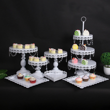 white Cake Stand stands for cakes SetRound Metal Crystal Cupcake Dessert Display Pedestal Wedding Party 4-18 pcs