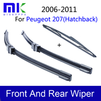 Combo Rubber Front And Rear Wiper Blades For Peugeot 207 Hatchback 2006 2011 Windscreen Wipers Car