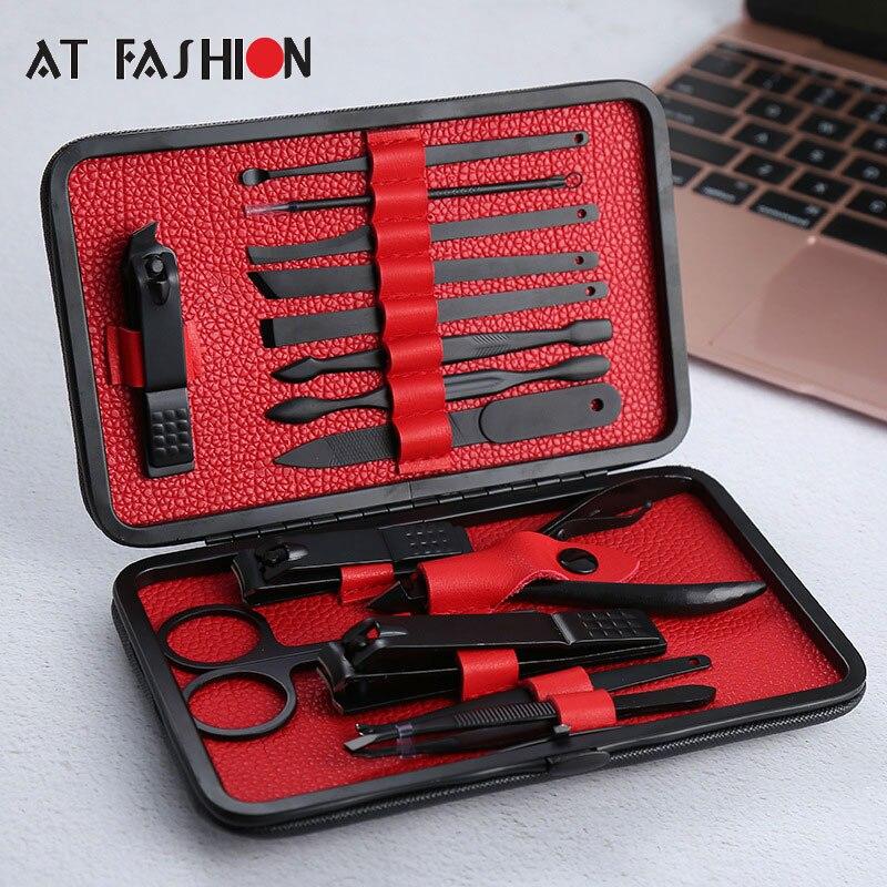 15 unids/set Acero inoxidable cortador de uñas Kit profesional de pedicura tijeras pinzas cuchillo oreja recoger manicura conjunto de herramientas de Arte de uñas