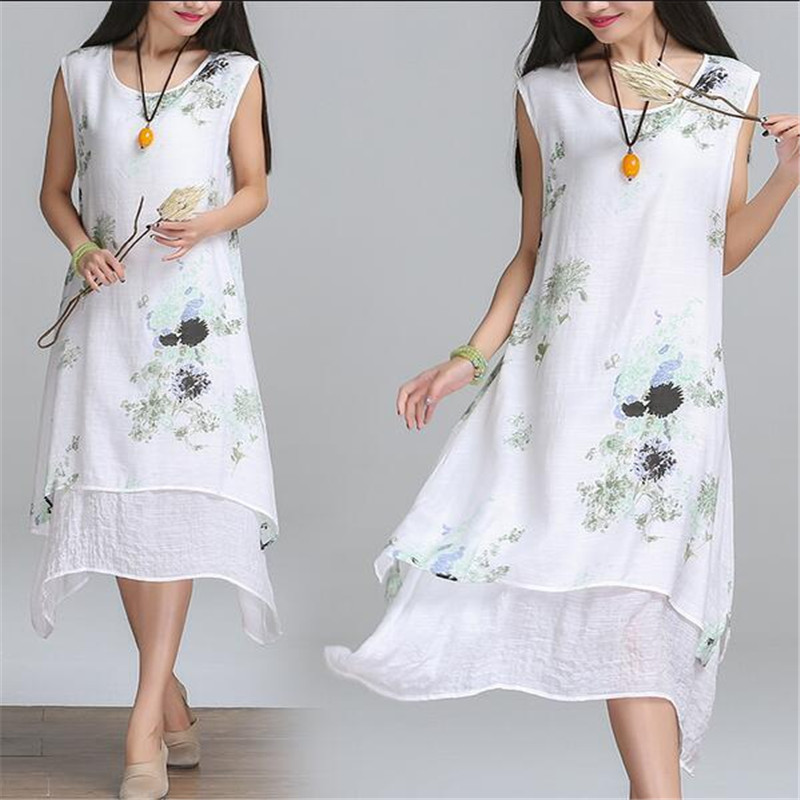 6235d0565e3 2017 Summer Maternity Clothing Loose Large Size Irregular Printed Fake 2  PCS Pregnant Women Cotton Linen Pregnancy Dress YFQ096