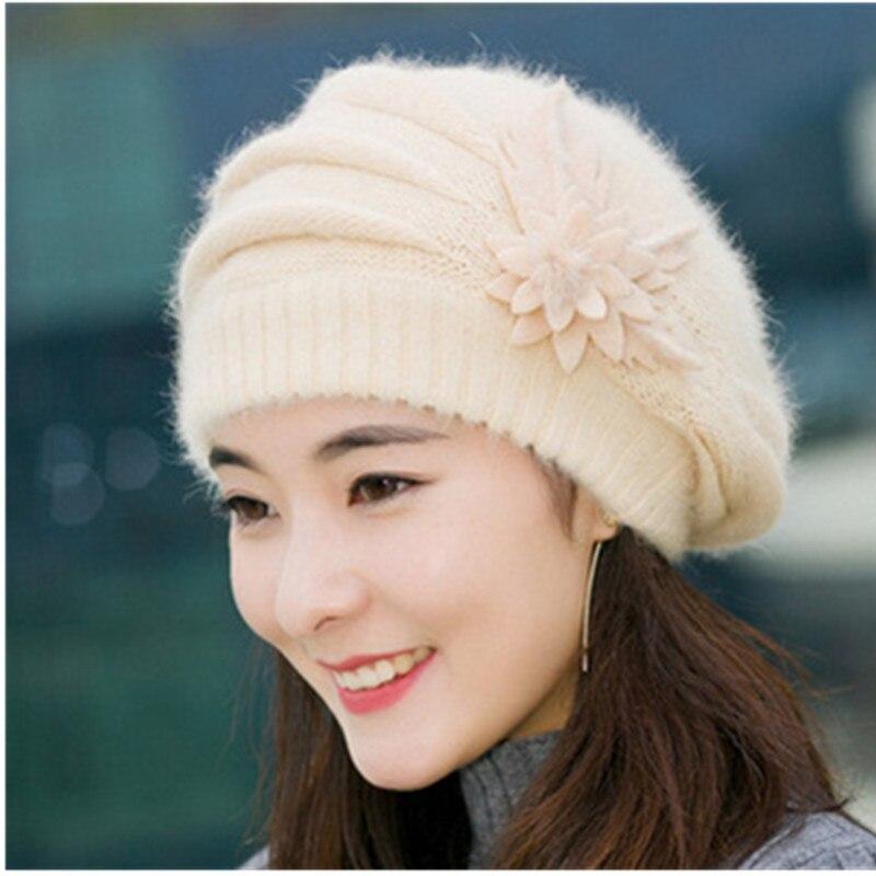ALLKPOPER Gorro Feminino Hat   Cap Quente Chapéus de Inverno Para As Mulheres  Coelho Malha Floral Caps Skullies Gorros Bonnet Osso Gorro em Skullies ... 1defdf0d58b