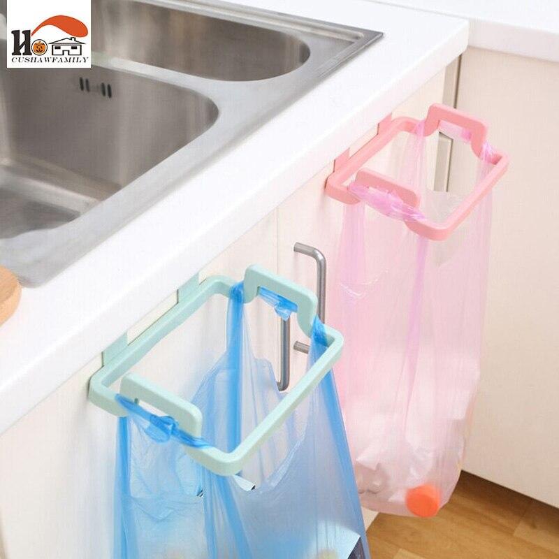 CUSHAWFAMILY 1 pcs New plastic ambry hanging Garbage bag holder hook cabinet door free nail Multi-functional Sundry bag Hanging