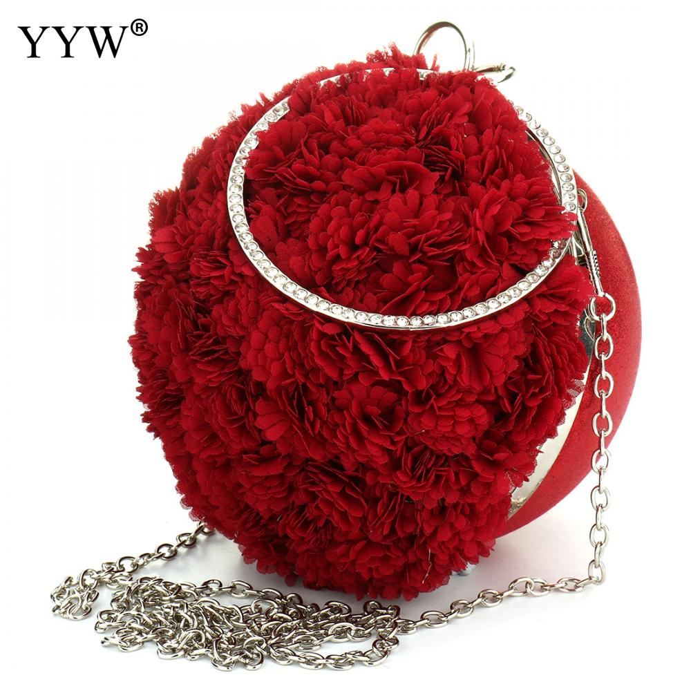 Rose Floral Evening Party Bag for Female Luxury Women Clutches Designer Red Clutch Bag Lady's Handbag Famous Brand Chain Bolsas