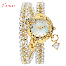 2015 Kimio Relojes Mujer Corea Del Lujo De la marca de la mariposa perlas pulsera Mujeres Del Reloj de Señoras Vestido de Pulsera de Cuarzo de moda femenina