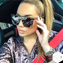 Oversized Square Sunglasses Men Women Flat Top Fashion One Piece Lens Sun Glasses for Women Brand 2018 Shades Mirror(China)