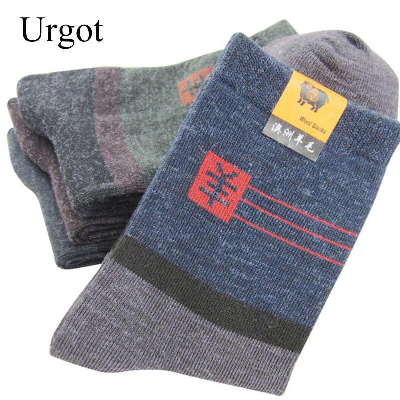 Urgot 20pcs=10 Pairs Men's Winter Thick Warm Stripe Wool Socks Casual Calcetines Hombre Sock Business Male Socks Men Meias Crew