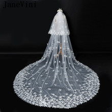 JaneVini Romantic 3.5M Cathedral Wedding Veil Ivory Two Layer Hand Made Flowers Tulle Bridal Veils with Comb Acessorios De Noiva(China)