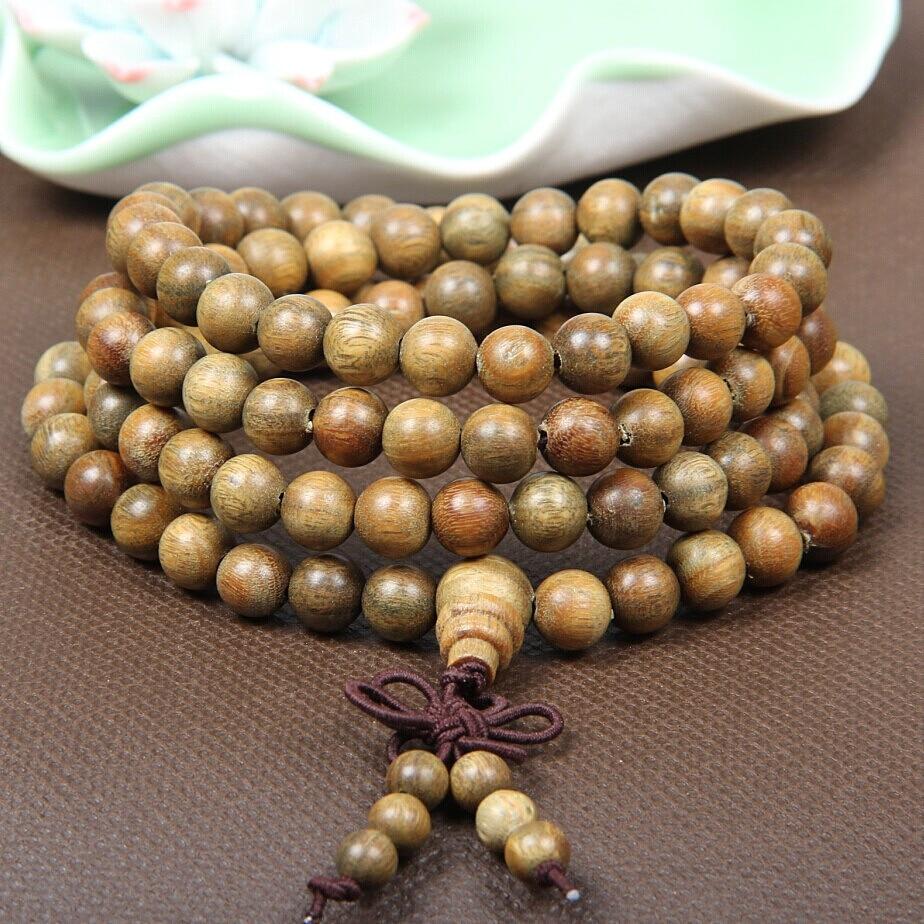 Original Handwork Natural Wood Green Sandalwood Beads Multilayer Bracelets for Women and Men 6mm 108 Buddha Bracelets & Bangle