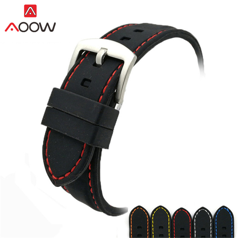Universal 20mm 22mm 24mm 26mm Soft Silicone Watchband High Quality Sport Waterproof Pin Buckle Bracelet Band Strap Accessories