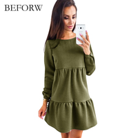BEFORW 2017 New Arrive Women Dress Autumn Winter Long Sleeve Fashion Dresses Blue Pink Army Green