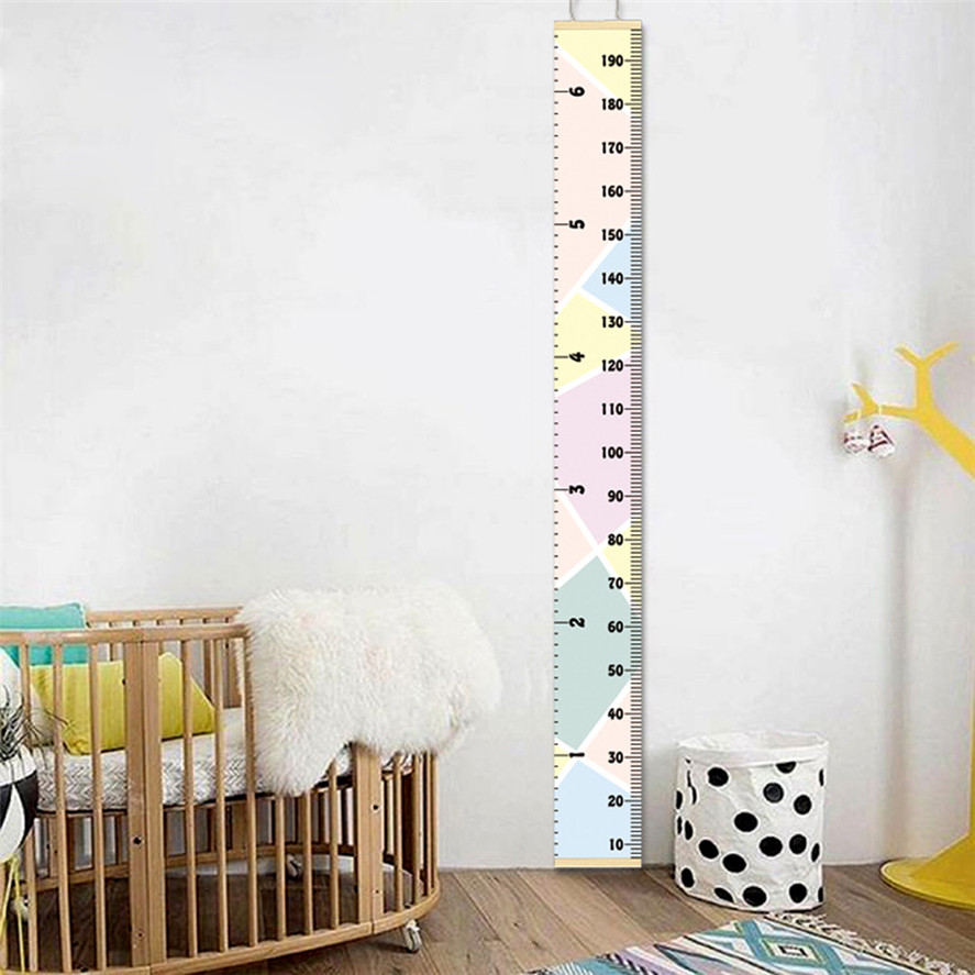 New Hanging Growth Chart Canvas 1PC Baby Height Growth Chart Hanging Rulers Kids Room Wall Wood Frame Home Decor New 30