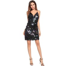 Tonlinker Womens Club Sequins Mini Dress 2018 New Sexy V-neck Backless Women Sundress Luxury Party Dresses Evening Vestidos