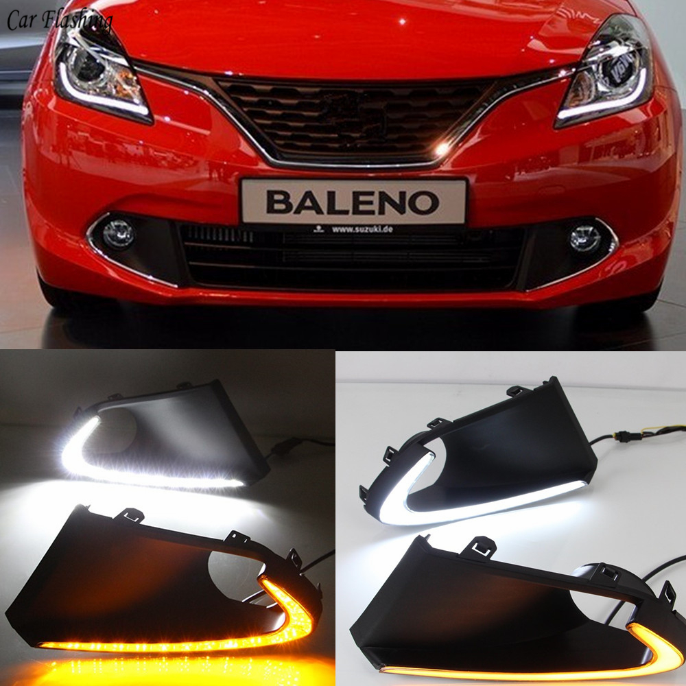 Car flashing 2pcs LED DRL Daytime Running Lights Fog Lamp cover with yellow turn signals daylight