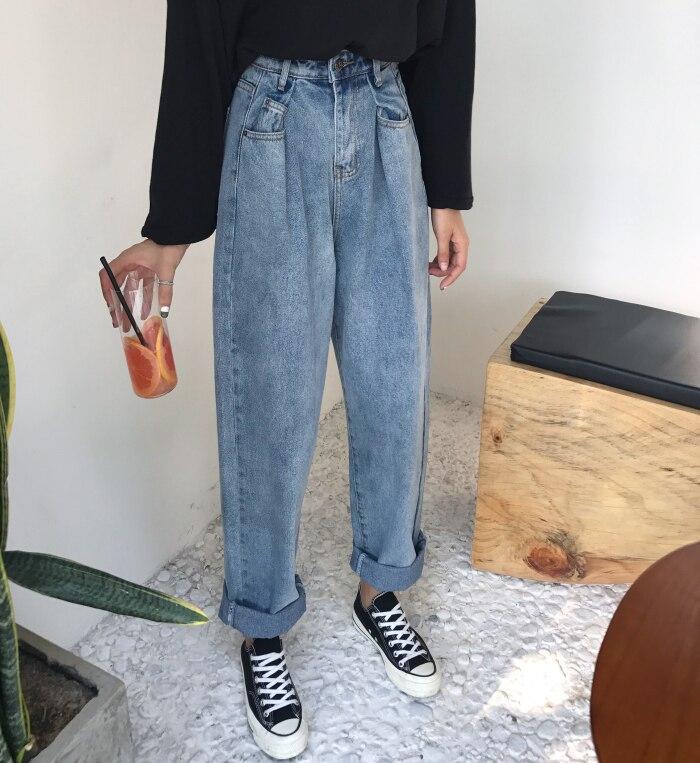 GUUZYUVIZ Loose Vintage Woman Jeans 17 Autumn Bleached Casual Boyfriend Curl Denim Wide Leg Pants Oversize High Waist Jean 5