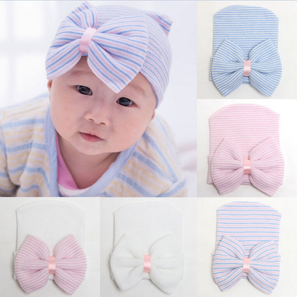 Cute Boys Hospital Cap Toddler Soft Knit Hat Accessories Hospital Beanie Newborn Baby Hat Baby Beanie with Bow for Infant Girls