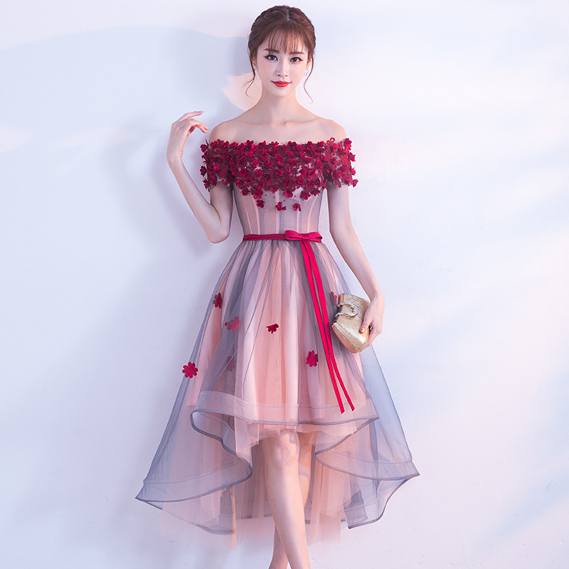 Dress Small Evening Dress Skirt 2019 New Engagement Banquet Word Shoulder Bride Toast Clothing Birthday Party Dress