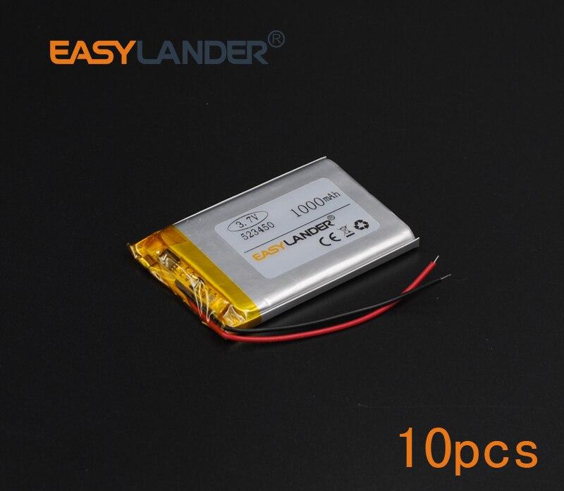 10 шт./лот 3.7 В 1000 мАч Перезаряжаемые литий-полимерный литий-ионный Батарея для игры мышь MP3 GPS Оборудование для PSP лампе динамик игрушки DVD <font><b>523450</b></font>