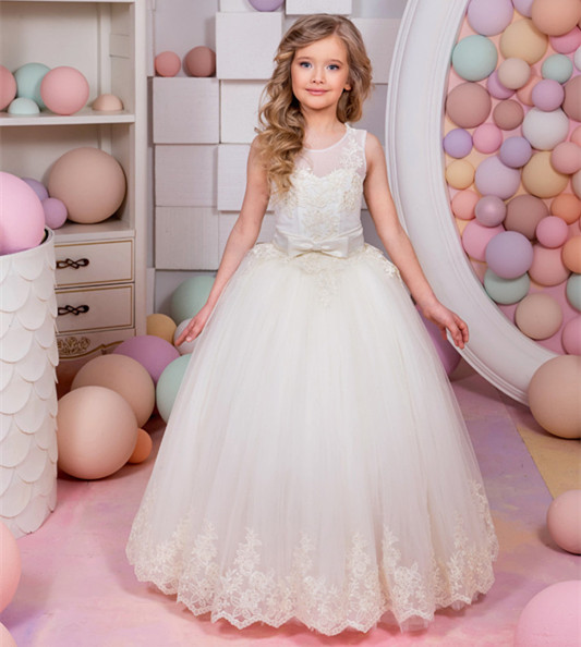 Gorgeous New White Lace Flower Girls Dresses Applique with Sash Bow Girls First Communion Dress Ball Gown Custom Made ynynoo new 32 32 dots not easy to break dots small blocks base plate building blocks diy baseplate compatible major brand blocks