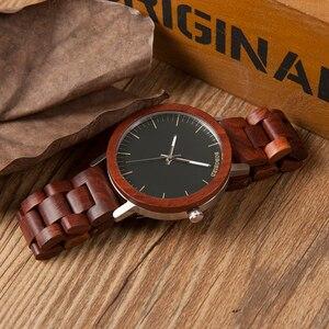 Image 5 - ボボ鳥赤木製バンド腕時計男性ナチュラルハンドメイド日本運動クォーツウッド腕時計レロジオ masculino C M16