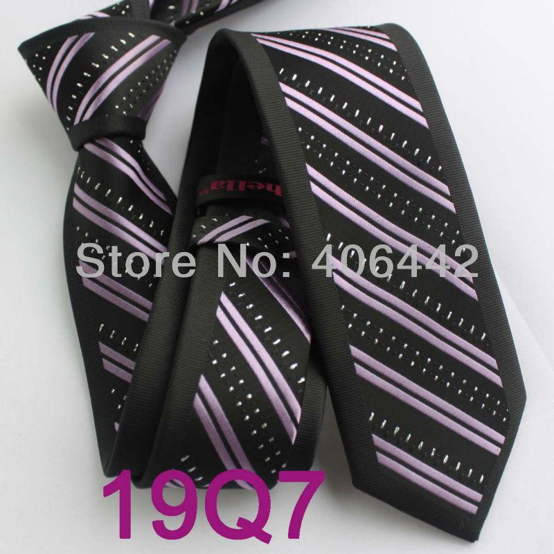 Yibei Coachella связи Для мужчин узкие галстук Дизайн пограничной черный с фиолетовый в полоску Серебряный горошек микрофибры галстук мода Slim галстук